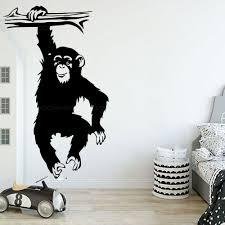 Funny Monkey Tree Wall Decal Nursery Kids Room Cartoon Jungle Forest Monkey Animal Branch Vinyl Sticker Bedroom Decoration Z363 Wall Stickers Aliexpress