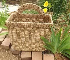 natural fiber brown wicker wall basket