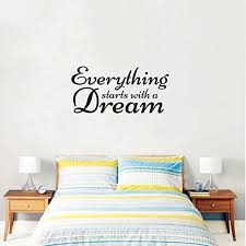Amazon Com Inspirational Quote Wall Art Vinyl Decal Everything Starts With A Dream 14 X 23 Motivational Bedroom Sayings Lettering Words Removable Home Decor Wall Art Sticker Decals Home Kitchen