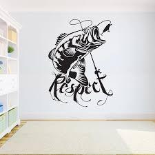 Home Decor Vinyl Sticker Fishing Wall Decal Kids Room Bass Fish Sticker Fishing Decal Interior Wallpaper 2kn12 Wall Stickers Aliexpress