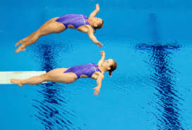 Kelci Bryant and Abigail Johnston of the U.S. perform a dive at the women's  synchronised 3m springboard final during the London 2012 Olympic Games at  the Aquatics Centre - The Washington Post