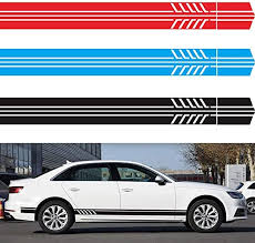 Amazon Com Lovfashion Universal Car Racing Body Side Stripe Skirt Roof Hood Decal Sticker For All Cars Vinyl Bumper Decal 2pcs Home Kitchen
