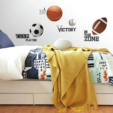 All Star Sports Sayings Balls Wall Stickers 24 Decals Soccer Football Basketball Kids Room Decor Walmart Com Walmart Com