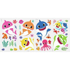 Roommates Blue Baby Shark Peel And Stick Wall Decals Rmk4303scs The Home Depot