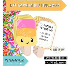 Kit Imprimible Helados Verano Kawaii Cumpleanos Candy Bar