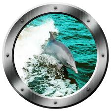 Vwaq Dolphin Porthole Wall Decal Ocean Wall Sticker Animal Nature View Sticker Beach Style Wall Decals By Vwaq Vinyl Wall Art Quotes And Prints
