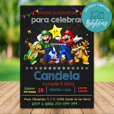Invitacion De Fiesta De Cumpleanos De Super Mario Para Imprimir
