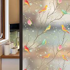 Amazon Com Coavas Privacy Window Film Opaque Non Adhesive Frosted Bird Window Film Decorative Glass Film Static Cling Film Bird Window Stickers For Gf Wf 90 2b Home Office 17 7in By 78 7in 45 X 200cm Home