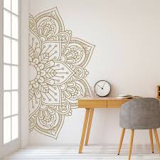 Mandala In Half Wall Stickers For Bedroom Bedside Vinyl Murals Removable Wall Decals Sticker For Meditation Yoga Style Lc1472 Wall Stickers Aliexpress