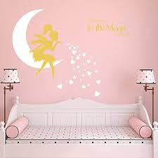 Amazon Com Fairy Wall Decal I Love You To The Moon And Back Fairy Wall Sticker For Girl Kids Bedroom Wall Decals Nursery Decor A19 White Gold Home Kitchen