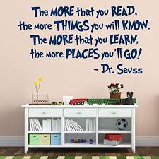 Dr Seuss Decal The More You Read Library Wall Art Playroom Decal Classroom Wall Art Public Library Playroom Wall Decals Kids Wall Decals Childrens Vinyl