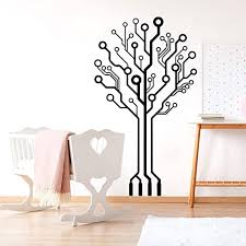 Amazon Com Wall Stickers Murals Circuit Tree Wall Decal Baby Nursery Kids Room Computer Science Circuit Board Wall Sticker Bedroom Vinyl Decor 75x43cm Kitchen Dining