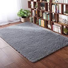 Amazon Com Softlife Fluffy Bedroom Area Rugs 4 X 5 3 Feet Shaggy Nursery Rug For Girls Baby Kids Dorm Room Modern Home Decorative Plush Indoor Floor Carpet Grey Home Kitchen