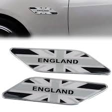 2pcs Metal England Uk Flag Car Side Fender Emblem Badge Sticker Decal Gray Wish