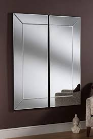 glass modern 2 panel wall mirror