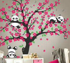cherry blossom tree painting on wall at