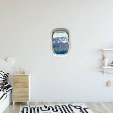 Airplane Window Landscape View Peel And Stick Vinyl Wall Decal Pw31