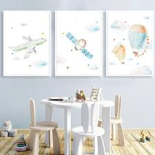 2020 Hot Air Balloon Art Print Nursery Wall Poster Airplane Satellite Canvas Art Painting Nordic Posters Wall Picture Kids Room Decor From Cccofficialstore 3 22 Dhgate Com