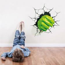 3d Hulk Fist Wall Sticker Superhero Avengers Wall Decals Kids Boys Room Decor Ebay