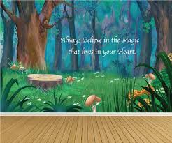 Forest Fairytale Wall Mural Peel N Stick Decals Kids Nursery Quote Wall Stickers Trees Forest Mushroom Deca Tree Mural Nursery Nursery Mural Tree Mural