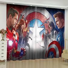 Avengers Marvel Hero Ironman Blockout Boys Kids 3d Curtain Drape Captain America