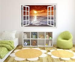 3d Fake Window View Sunset Ocean Beach Vinyl Wall Sticker Mural Kids Room Decal