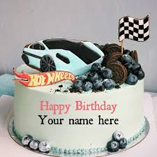 sports car birthday cake with name for