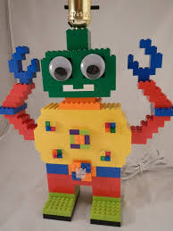 Kids Robot Lamp Made Of Lego Elements Etsy