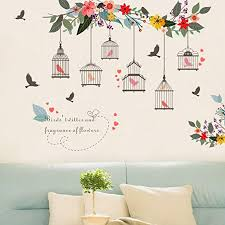 Amazon Com Polytree Wall Sticker Flower Bird Birdcage Pattern Removable Wall Art Mural Decal For Home Living Room Bedroom Decoration Home Kitchen