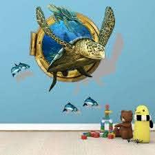 Shijuehezi Blue Fish Sea Turtle 3d Wall Sticker Creative Novedades Animals For Personality Child Living R Animal Kids Room Sea Turtle Wall Art Kid Room Decor