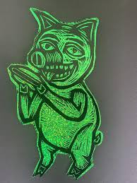 Pig Glitter Sticker Woodcut Funhouse