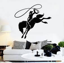 Vinyl Wall Decal Cowboy Horseback Lasso Western Horse Rider Stickers M Wallstickers4you
