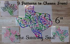 6 Car Pattern Texas Rose Decal Computer Texas Rose Etsy
