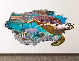 Amazon Com West Mountain Turtle Wall Decal Art Decor 3d Smashed Kids Ocean Sticker Mural Home Gift Bl07 22 W X 14 H Home Kitchen