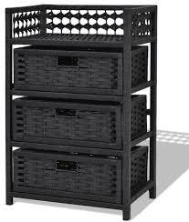 wicker basket storage unit chest wooden