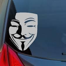 High Quality V Guy Fawkes Mask Vinyl Sticker Decal Vendetta Anarchy Rebel 99 Info Wars 1776 Wish