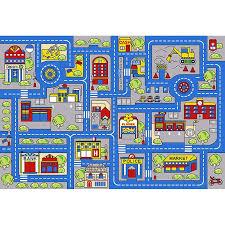 Zoomie Kids Sulligent Kids Town Map Blue Area Rug Wayfair