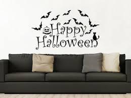 Halloween Bats Wall Decals Pumpkin Bat Happy Halloween Decor Black Cat Zx158 Ebay