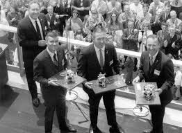 Apollo 13 astronauts Fred Haise, Jack Swigert and Jim Lovell return to the  Grumman Bethpage plant on May… | Apollo space program, Apollo 13  astronauts, Space crafts
