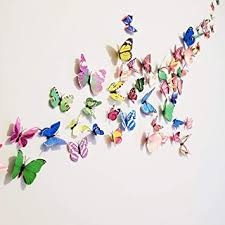 Amazon Com 72 Pcs 3d Butterfly Stickers Home Decoration Diy Removable 3d Vivid Special Man Made Lively Butterfly Art Diy Decor Wall Stickers For Wall Decor Kids Room Bedroom Living Room 6 Colors