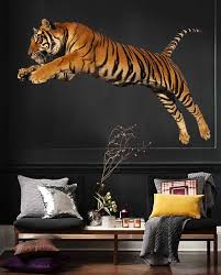 Tiger Wall Decals Jumping Tiger Wall Decor Tiger Full Color Etsy In 2020 Tiger Wall Decor Tiger Wall Art Large Wall Decals