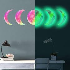Amazon Com 5pcs Glow In The Dark Wall Ceiling Moon Phase 30cm Sticker Auhoky Decal Stickers For Lunar Phases Bright At Night Removable Adhesive Mural Wallpaper For Kids Girl Bedroom Gift Green Kitchen
