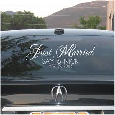 Custom Just Married With Names And Date Personalized Car Etsy Just Married Car Just Married Window Stickers