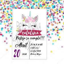 Tarjeta De Invitacion Cumpleanos Unicornio Para Imprimir 80 00