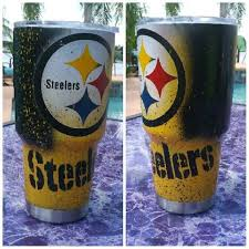 Pittsburgh Steelers 30oz 20oz 10oz Stainless Steel Tumbler Free Name Included Yeti Cup Designs Tumbler Cups Diy Diy Cups
