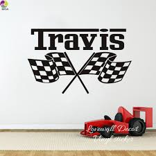 Custom Racing Car Flag Name Wall Sticker Boy Room Kids Room Personalized Checkered Flags Race Theme Name Wall Decal Vinyl Decor Stickers Boy Name Wall Stickerswall Sticker Aliexpress