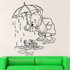 Cartoon Wall Stickers Winnie The Pooh Vinyl Window Decal Kids Bedroom Baby Room Nursery Interior Decor Ducks Rain Art Mural M664 Leather Bag