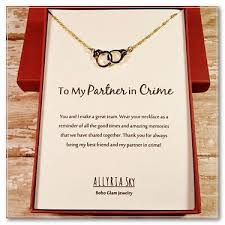 """mischievous friend quotes gold plated handcuff """"partner in crime"""