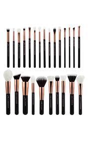 makeup brush set in black and rose gold