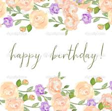 watercolor flower background happy birthday calligraphy